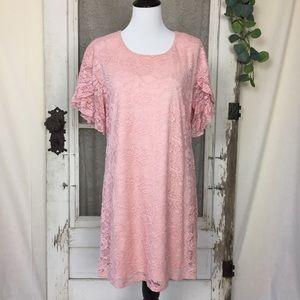 As U Wish Pink Lace Dress/ Tunic Ruffle Sleeves L